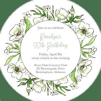 White Floral Wreath Round Invitation (Flower & Vine) Round Invitation