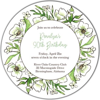 White Floral Wreath Round Invitation