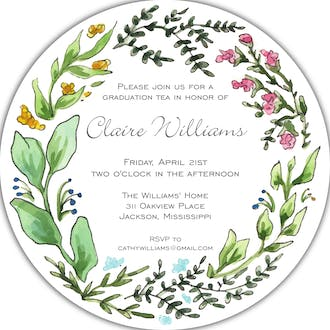 Seasons Wreath Round Invitation