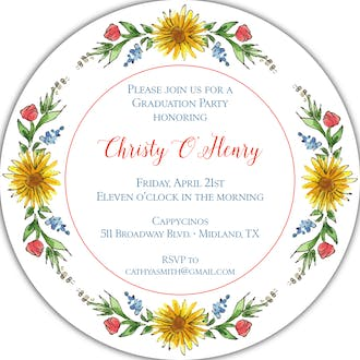 Circle of Sunflowers (White) Round Invitation
