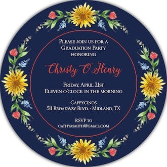 Circle of Sunflowers (Midnight) Round Invitation
