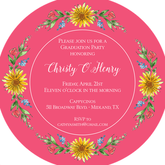 Circle of Sunflowers (Coral) Round Invitation