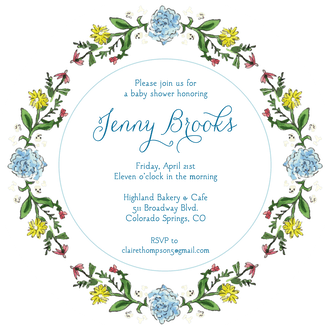 Circle of Spring Florals (White) Round Invitation (Flower & Vine) Round Invitation