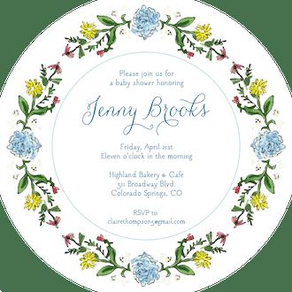 Circle of Spring Florals (White) Round Invitation (Flower & Vine) Round Invitation