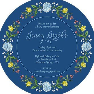 Circle of Spring Florals (Navy) Round Invitation (Flower & Vine) Round Invitation