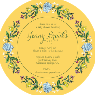Circle of Spring Florals (Dandelion) Round Invitation (Flower & Vine) Round Invitation