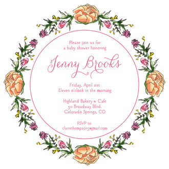 Peonies & Roses (White) Round Invitation (Flower & Vine) Round Invitation