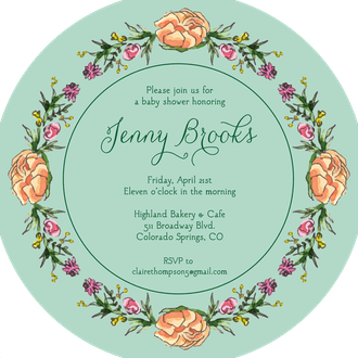 Peonies & Roses (Seafoam) Round Invitation (Flower & Vine) Round Invitation