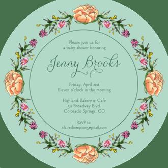 Peonies & Roses (Seafoam) Round Invitation (Flower & Vine) Round Invitation