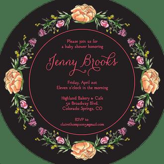 Peonies & Roses (Black) Round Invitation (Flower & Vine) Round Invitation