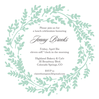 Seafoam Vines Round Invitation