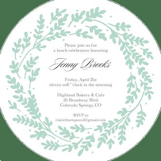 Seafoam Vines Round Invitation