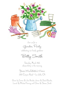 Gardening Tools Invitation