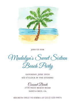 By the Beach Palm Invitation