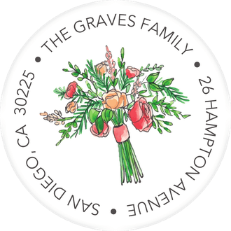 Coral and Blush Bouquet Return Address Label