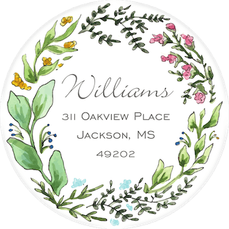 Seasons Wreath Return Address Label