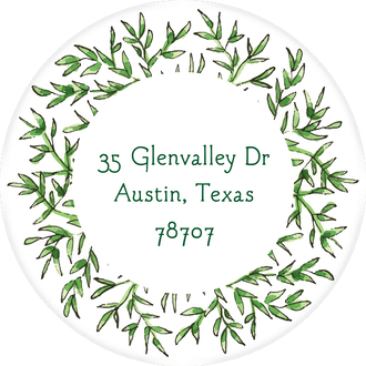 Greenery Wreath Return Address Label