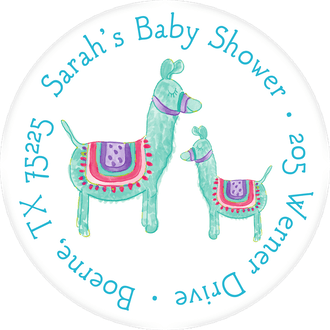 Blue Llamas Return Address Label
