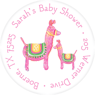Pink Llamas Return Address Label