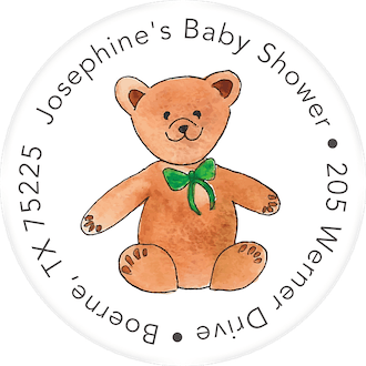 Floral Bear Return Address Label