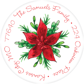 Winter Greenery & Poinsettia Return Address Label