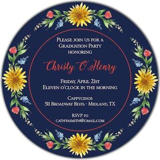 Circle of Sunflowers (Midnight) Round Invitation