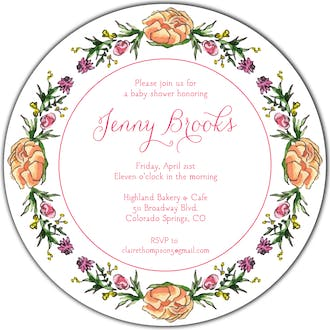 Peonies & Roses (White) Round Invitation