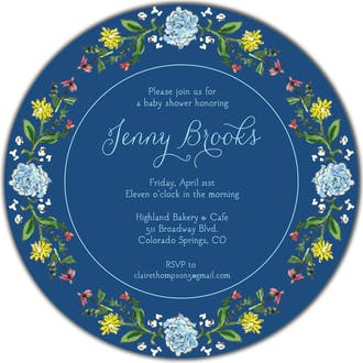 Circle of Spring Florals (Navy) Round Invitation