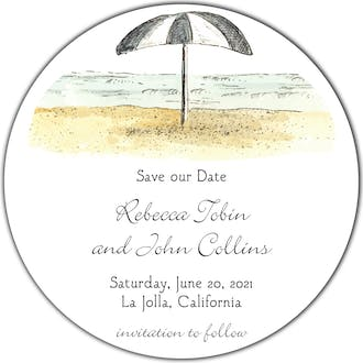Beach Scene Round Invitation