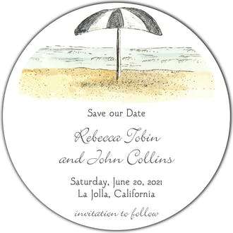 Beach Scene Round Invitation