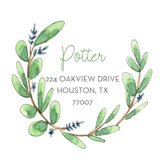 Eucalyptus Wreath Return Address Label
