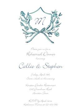 Blue Petite Crest Invitation