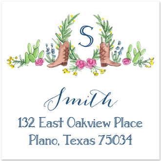 Boots, Cactus and Greenery Return Address Label