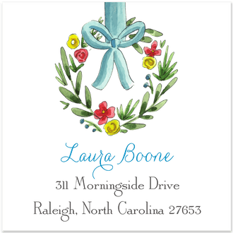 Spring Wreath Return Address Label