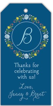 Circle of Spring Florals (Navy) Hanging Gift Tag
