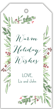Winter Greenery Frame Hanging Gift Tag