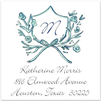 Blue Petite Crest Return Address Label