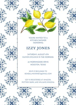 Mediterranean Blue and Lemon Invitation