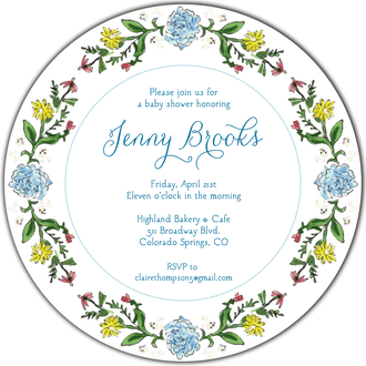 Circle of Spring Florals (White) Round Invitation