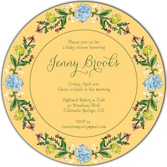 Circle of Spring Florals (Dandelion) Round Invitation