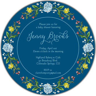 Circle of Spring Florals (Navy) Round Invitation
