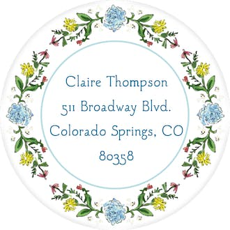 Circle of Spring Florals (White) Return Address Label