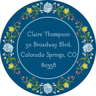 Circle of Spring Florals (Navy) Return Address Label
