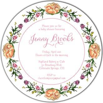 Peonies & Roses (White) Round Invitation