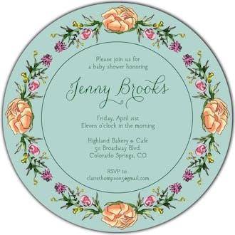Peonies & Roses (Seafoam) Round Invitation