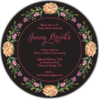 Peonies & Roses (Black) Round Invitation