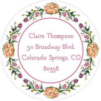 Peonies & Roses (White) Return Address Label