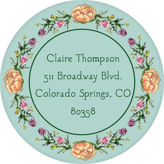 Peonies & Roses (Seafoam) Return Address Label