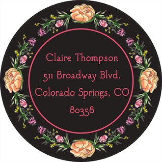 Peonies & Roses (Black) Return Address Label