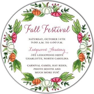 Pumpkin Patch (White) Round Invitation